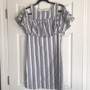 Blue, white and light pink striped midi dress